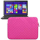 Evecase Universal Sleeve Bag Pouch Case for Toshiba Satellite S55T-B5260 15.6-Inch Touchscreen Laptop, C55-B5300 15.6-Inch Laptop - Hot Pink