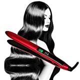 Titanium Flat Iron Digital Hair Straightener by Isa Professional 1 Inch 2 Year Warranty