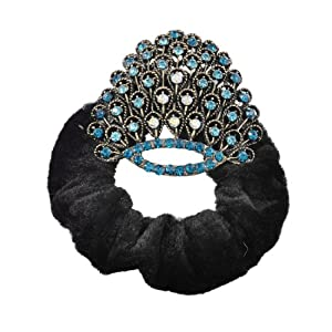 Turquoise Shiny Rhinestones Peacock Wing Black Velvet Hair Ponytail Holder Scrunchie