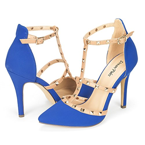 DREAM PAIRS ROCKSTAR-HIGH Women's D'Orsay Style Metal Studs Pointy Pumps Classic Stiletto Heel Shoes New Royal-Blue Size 8