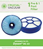 1 Dyson DC33 Pre & Post Filter Designed To Fit Dyson DC33 Multi Floor Vacuums, Part # 921616-01, 917390-02 & 917390-27