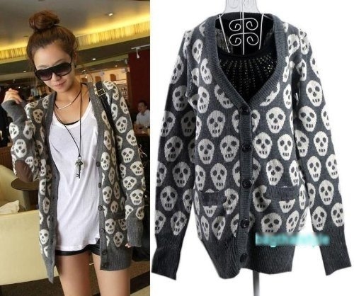 Boyfriend Chunky Retro Skull Elbow Patch Sweater