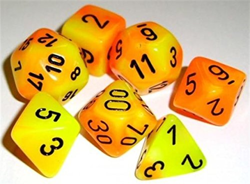 Find Bargain Polyhedral 7 Dice Set Chessex Gemini Orange & Yellow with Black  CHX-26442