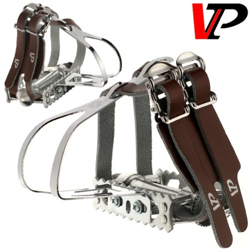 VP Track Fixie Bike Pedals Toe Clips and Leather Straps