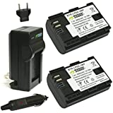 Wasabi Power Battery (2-Pack) and Charger for Canon LP-E6, LP-E6N and Canon EOS 5D Mark II, EOS 5D Mark III, EOS 5DS, EOS 5DS R, EOS 6D, EOS 7D, EOS 7D Mark II, EOS 60D, EOS 60Da, EOS 70D, XC10