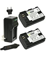 Wasabi Power Battery (2-Pack) and Charger for Canon LP-E6, LP-E6N and Canon EOS 5D Mark II, EOS 5D Mark III, EOS 5DS, EOS 5DS R, EOS 6D, EOS 7D, EOS 7D Mark II, EOS 60D, EOS 60Da, EOS 70D