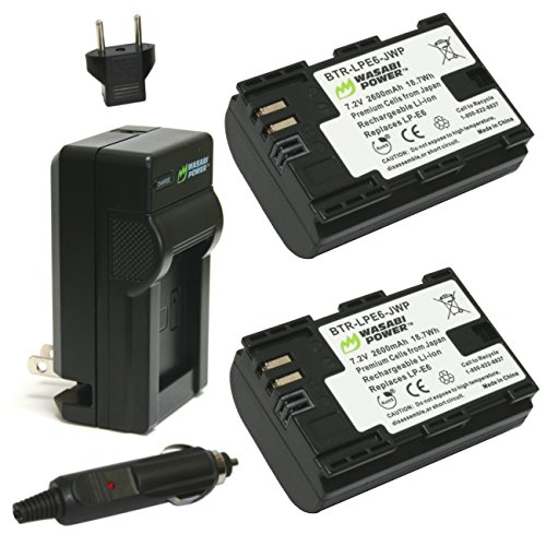 Wasabi Power Battery (2-Pack) and Charger for Canon LP-E6, LP-E6N and Canon EOS 5D Mark II, EOS 5D Mark III, EOS 5DS, EOS 5DS R, EOS 6D, EOS 7D, EOS 7D Mark II, EOS 60D, EOS 60Da, EOS 70D, XC10 (Battery Canon 7d compare prices)