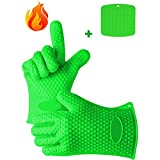 IEKA Heat Resistant Gloves,Set of 2 Silicone Gloves and Pot Holder Mat for Your Indoor and Outdoor Cooking Needs,Use as BBQ Meat Turner or Oven, Heat Resistant Up To 425 Degrees Fahrenheit (Green)