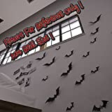Gefii(TM)Halloween Party 12pcs pack Black Luminous PVC 3D Decorative Bats Butterfly Removable Wall Sticker, Halloween eve decor (black) (6.29inches x 1.57 inches each x 4 big bats , 5.7inches x 1.77inches each x 4 medium bats and 4.52inches x 1.37inches each x 4 small bats)