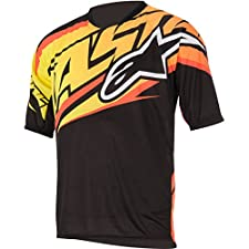 Alpinestars Men's Sight Short Sleeve Jersey Medium Black/Orange/Yellow
