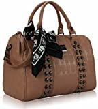 Beige Studded Skull Embossed Barrel Scarf Long Strap Grab Designer Handbag (16