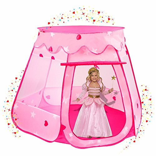 Stars-Hearts-Princess-Castle-Play-Tents-for-Girls-w-Removable-Roof-Pop-Up-Children-Play-Tent-for-Indoor-Outdoor-Use-Beautiful-Fairy-Princess-Castle-Tent-w-Zipper-Storage-Case
