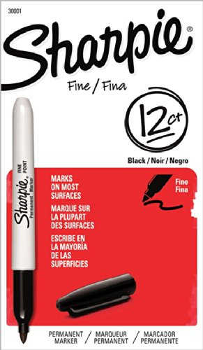 Sharpie Fine Point Permanent Markers, 12 Pack, Black (30001)