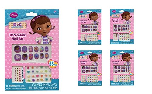 Doc McStuffins 65 pcs Decorative Nail Art Nail Stickers and Gems x 4 packs - 1