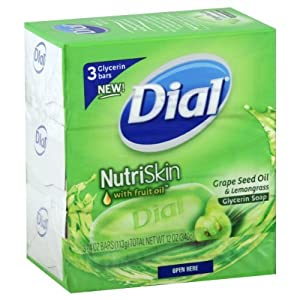 Dial NutriSkin Glycerin Soap, Grapeseed Oil & Lemongrass, 3 ct.
