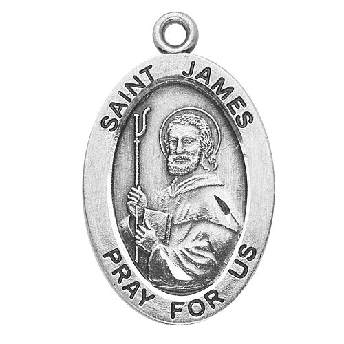 Sterling Silver Oval Medal Necklace Patron Saint St. James with 20