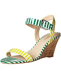 Nine West Women S Kiani Synthetic Wedge Sandal White/Yellow/White/Green 5 B(M) US