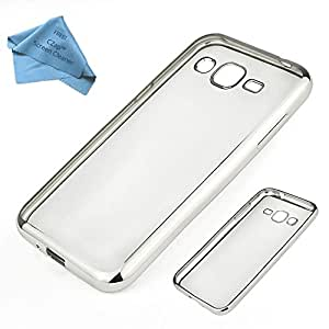 CZap Meephone Electroplated Edge Soft Transparent Case Back Cover for Samsung Galaxy J5 - Silver