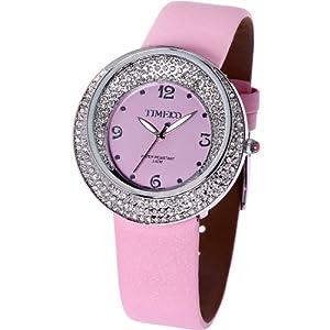 Time100 Ladies' Dazzling Diamond Pink Strap Fashion Watch #W50041L.02A by Time100