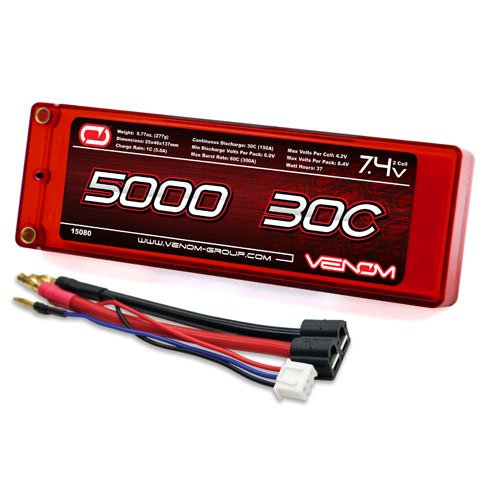 Venom 15080 2S 7.4V 30C 5000mAh LiPo, Hardcase with Universal Plug
