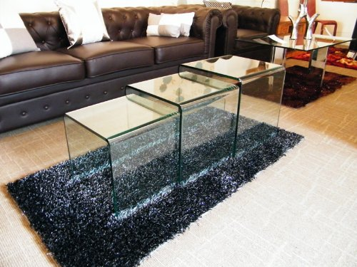 Alaya nest of 3 clear glass occasional tables
