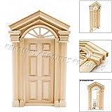 Odoria 1/12 木製 ドア 家具 ミニチュア バロックスタイル ドールハウス アクセサリー [並行輸入品]
