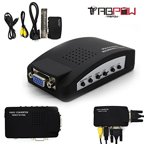 TabPow TV RCA AV S-video In to PC VGA LCD CRT Out Converter Adapter Switch Box