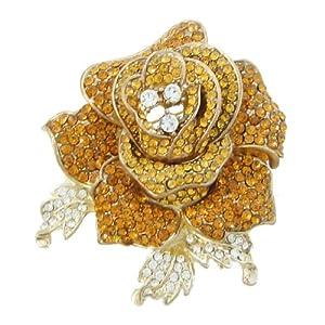 Ever Faith Beautiful Rose Flower Brooch Austrian Crystal Topaz Color A04951-4