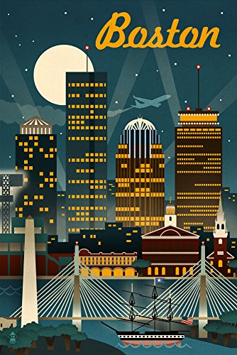 Boston, Massachusetts - Retro Skyline (16x24 Giclee Gallery Print, Wall Decor Travel Poster) (Boston Skyline Painting compare prices)