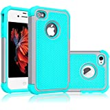 iPhone 5S Case, Tekcoo(TM) [Tmajor Series] [Grey/Turquoise] iPhone 5 5S Case Shock Absorbing Hybrid Best Impact Defender Rugged Slim Cover Skin Shell w/ Hard Plastic Outer & Rubber Silicone Inner