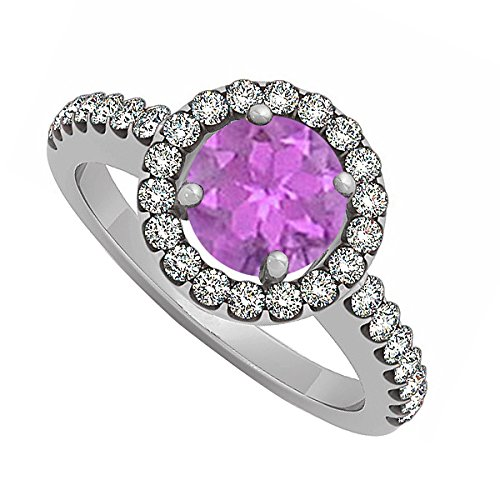 February The Month Of Love Birthstone Amethyst And Cubic Zirconia Halo Engagement Ring
