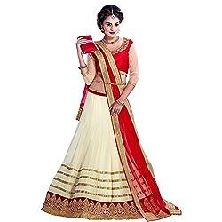 Fab Pandora Women's Clothing designer Red and White Color lehenga choli/heavy embroidered lehenga choli / partywear lehenga choli