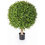 Boule de buis artificiel TOM sur tronc, 432 feuilles, 45 cm, Ø 30 cm - buis plastique / plante artificielle buis - artplants