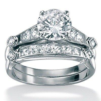 Platinum/Silver 2 Piece Cubic Zirconia Bridal Set Size: 7