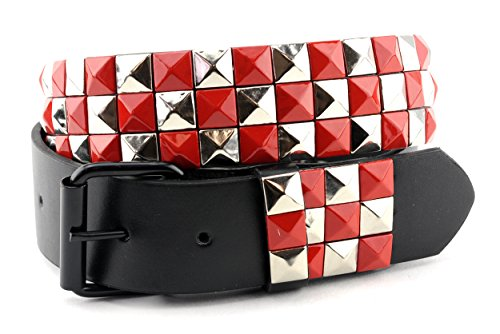 NYfashion101 Two Tone Pyramid Stud Faux Leather Removable Roller Buckle Belt M