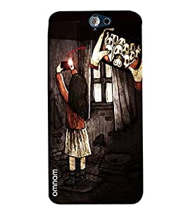 Omnam Girl Taking Selfie With Ghost Printed Designer Back Cover Case For HTC One A9