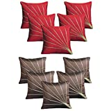 "Royalina Brown And Red Rays Dupioni Cushion Covers-Buy 5 Get 5 Free-16""X16"""