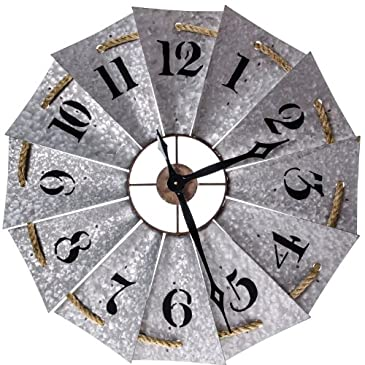 Metal Windmill Clock