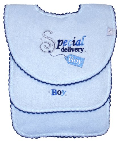 Special Delivery Bib and Burp Cloth Set, Boy, Frenchie Mini Couture