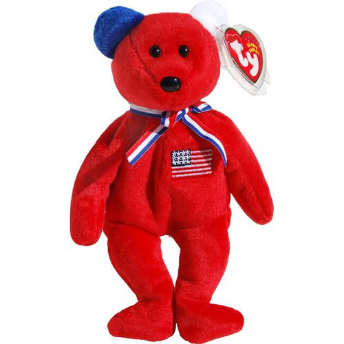 America 911 Memorial Red Teddy Bear - Ty Beanie Babies - 1