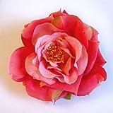 Open Garden Rose Artificial Flower Hair Clip/Pin Brooch