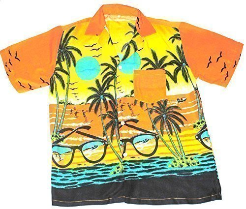 Happy Hawaiian Hut - Teenager Hemd Hawaii Sonnenbrillen Motiv Jungen Mädchen - Orange, Teenager 12-15 Jahre / 152-170