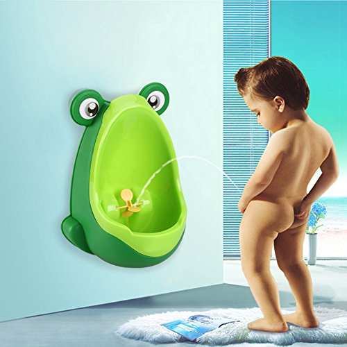 Vktechトイレ トレーニング 男の子用 おまる 小便器 可愛いカエル型  男児 おまる便器 取り付け 使い方 簡単 トイレ 練習 赤ちゃん 子供  全3色 (グリーン)