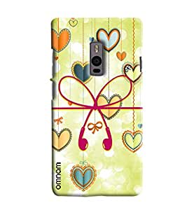 Omnam Earphones In Heart Shape With Heart Background Printed Designer Back Cover Case For OnePlus Two