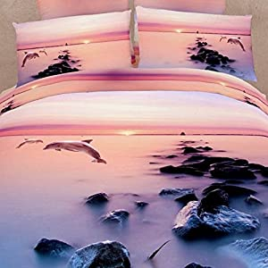 Sisbay 3d Ocean Oil Painting Bedding,Fabulous Dolphins Reactive Print Duvet Cover,Antique Animal Wedding Bed Set,Queen King