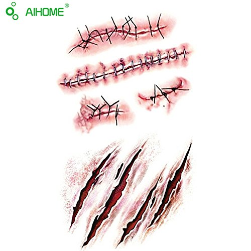 AIHOME Horror Realistic Waterproof Temporary Scar Tattoo Sticker Fake Bloody Wound Stitch Scar Scab Halloween Masquerade Prank Makeup Props