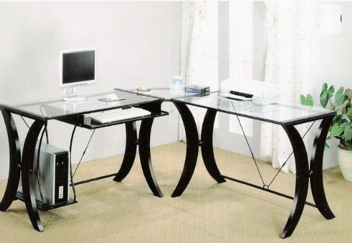 Buy Low Price Comfortable L-Shape Cappuccino Finish Base Glass Top Home Office Computer Desk (B0029RQOIE)
