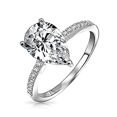 Bling Jewelry Pear Shaped 2.25 Carat Solitaire CZ Engagement Ring 925 Sterling Silver