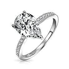 buy Bling Jewelry Pear Shaped 2.25 Carat Solitaire Cz Engagement Ring 925 Sterling Silver