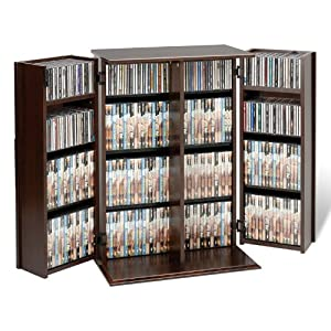 Prepac Deluxe CD Storage Rack with Locking Shaker Doors, Small, Espresso